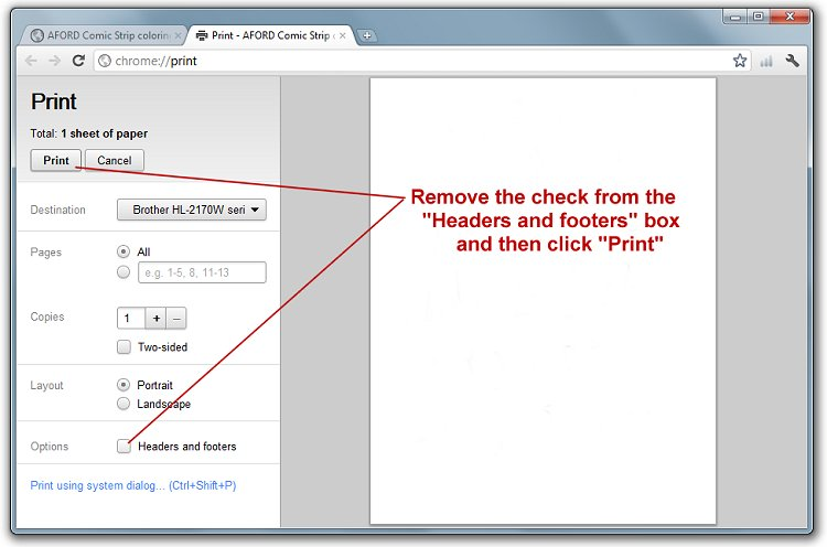 Print settings for Google Chrome